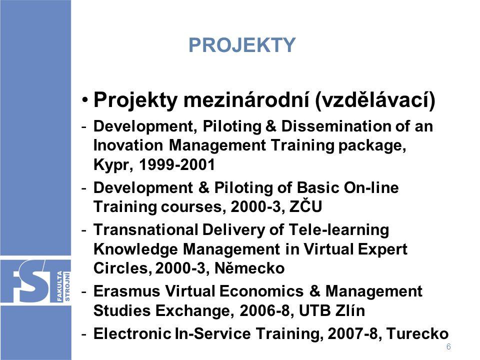 6 PROJEKTY Projekty mezinárodní (vzdělávací) -Development, Piloting & Dissemination of an Inovation Management Training package, Kypr, 1999-2001 -Deve