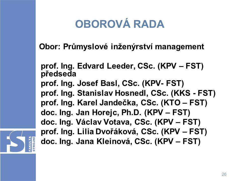 26 OBOROVÁ RADA Obor: Průmyslové inženýrství management prof. Ing. Edvard Leeder, CSc. (KPV – FST) předseda prof. Ing. Josef Basl, CSc. (KPV- FST) pro