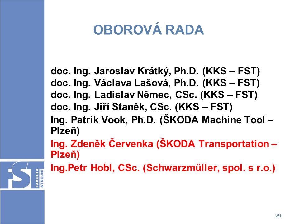 29 OBOROVÁ RADA doc. Ing. Jaroslav Krátký, Ph.D. (KKS – FST) doc. Ing. Václava Lašová, Ph.D. (KKS – FST) doc. Ing. Ladislav Němec, CSc. (KKS – FST) do