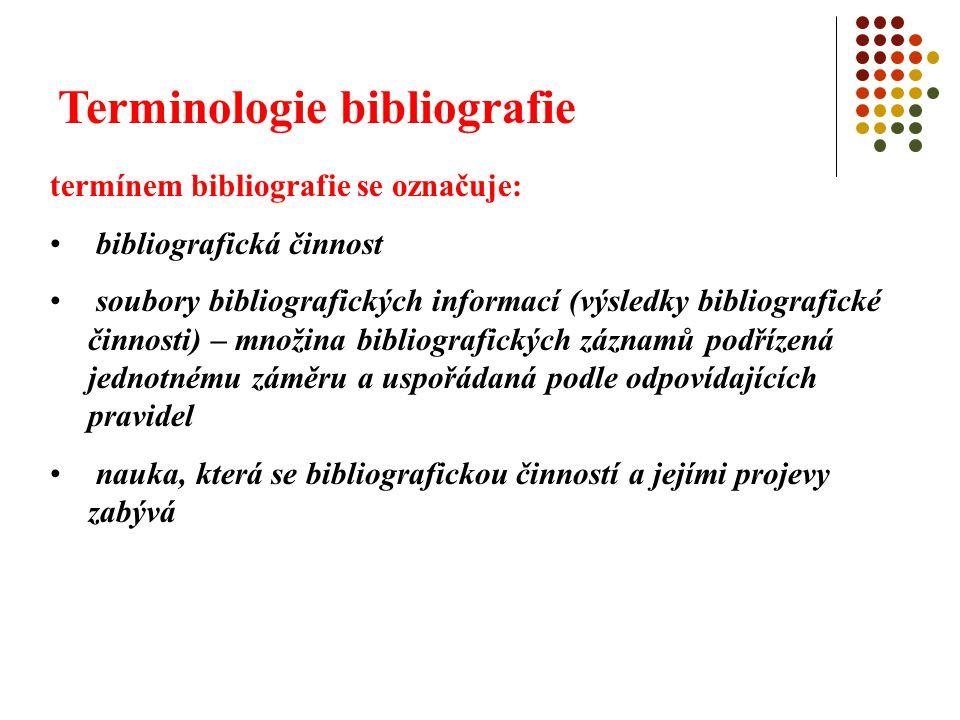 Terminologie bibliografie výklad termínu podle KTD ( Česká terminologická databáze knihovnictví a informační vědy - TDKIV) : Česká terminologická databáze knihovnictví a informační vědy 1.seznam dokumentů zpracovaný podle určitých zásad, pravidel a hledisek 2.