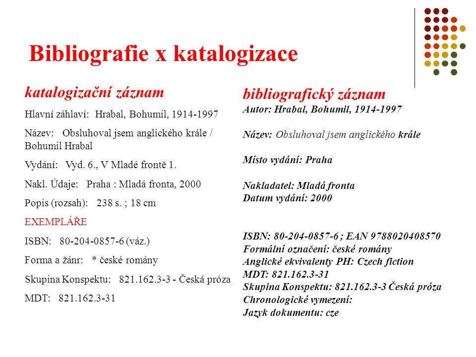 Bibliografie x katalogizace účel: katalog přivést čtenáře co nejrychleji ke hledané knize, která je v jedné či více knihovnách bibliografie dát čtenáři co nejúplnější představu o knize po všech stránkách bez ohledu na to, ve které knihovně se nachází – čím obsažnější – tím lepší představa často doplněn obsahovou charakteristikou
