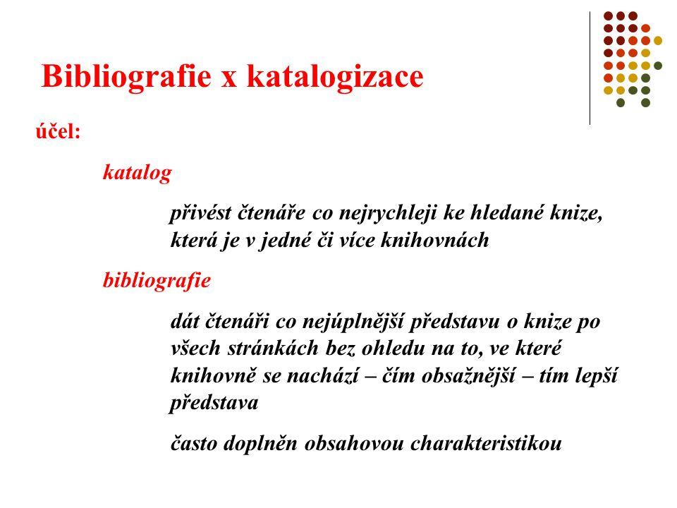 Bibliografie x katalogizace popis: katalogizační pravidla jsou východiskem bibliografického popisu, ale bibliografický popis má své specifické zvláštnosti, kterými se od katalogizace odlišuje