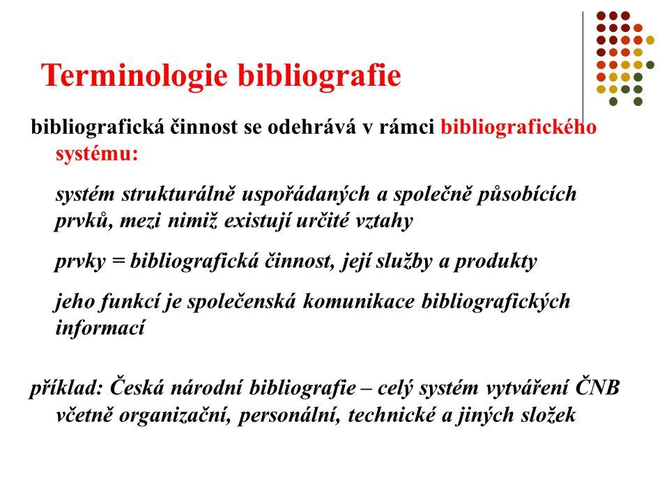 Terminologie bibliografie bibliografická činnost se odehrává v rámci bibliografického systému: systém strukturálně uspořádaných a společně působících