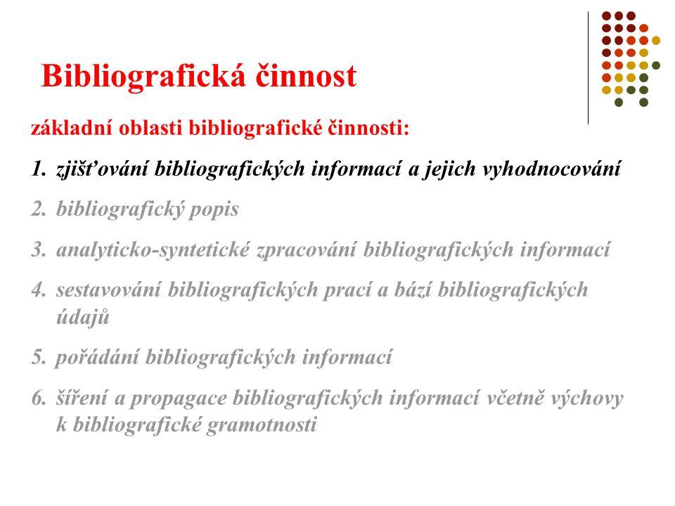 Bibliografická činnost 1.