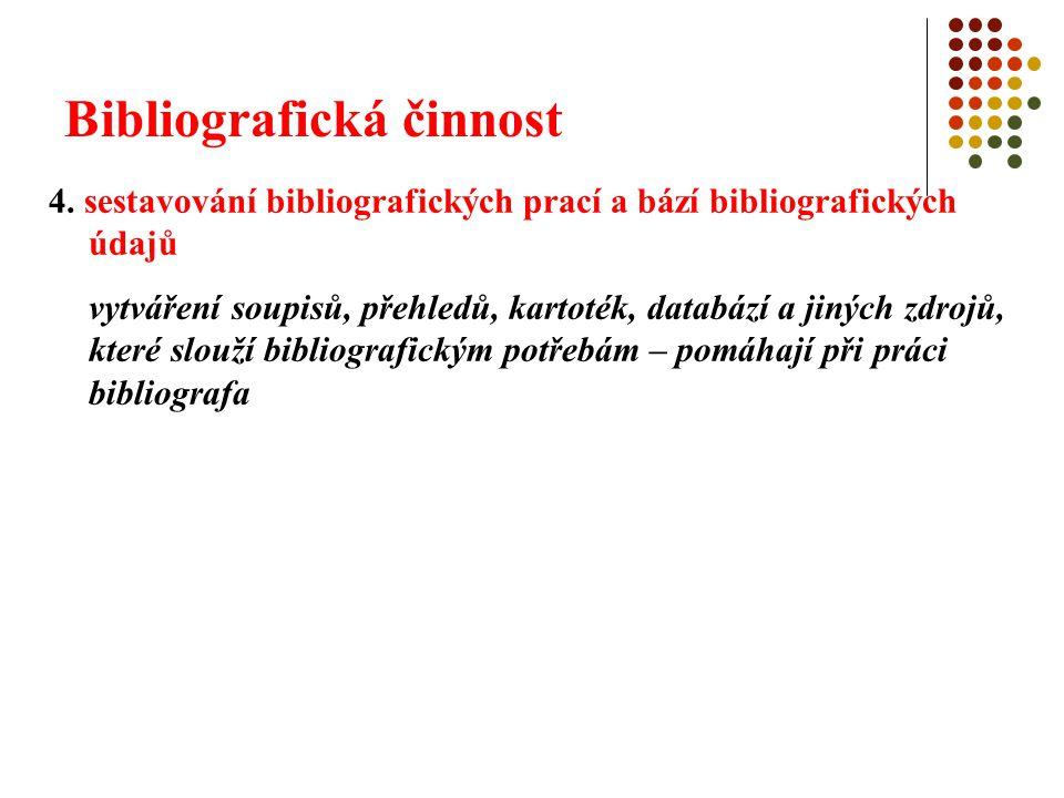 Bibliografická činnost 4. sestavování bibliografických prací a bází bibliografických údajů vytváření soupisů, přehledů, kartoték, databází a jiných zd