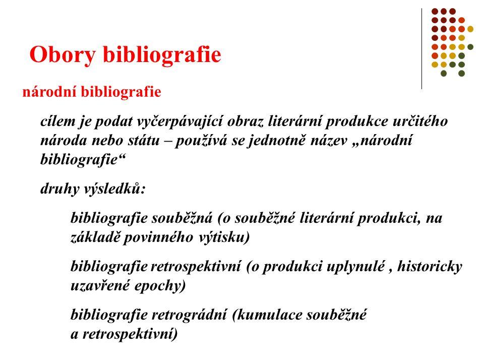 Obory bibliografie regionální bibliografie zjišťování, evidování, zpracování a zpřístupňování bibliografických informací o publikační produkci určitého regionu, vztahující se k němu či vytvořené regionálními autory zvláštním případem je místopisná bibliografie (topobibliografie) vztahující se k určitému místu oborová bibliografie zjišťování, evidování, zpracování a zpřístupňování bibliografických informací o publikační produkci určitého vědního či praktického oboru, discipliny či odvětví