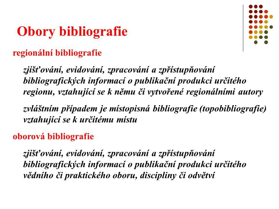 Obory bibliografie tematická bibliografie zjišťování, evidování, zpracování a zpřístupňování bibliografických informací o publikační produkci vztahující se k určitému tématu speciální bibliografie zjišťování, evidování, zpracování a zpřístupňování bibliografických informací o publikační produkci speciálních druhů dokumentů, např.