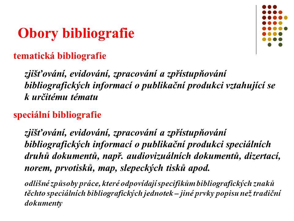 Obory bibliografie tematická bibliografie zjišťování, evidování, zpracování a zpřístupňování bibliografických informací o publikační produkci vztahují