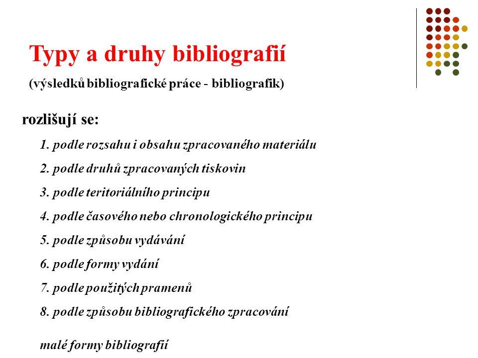 Typy a druhy bibliografií (výsledků bibliografické práce - bibliografik) rozlišují se: 1. podle rozsahu i obsahu zpracovaného materiálu 2. podle druhů