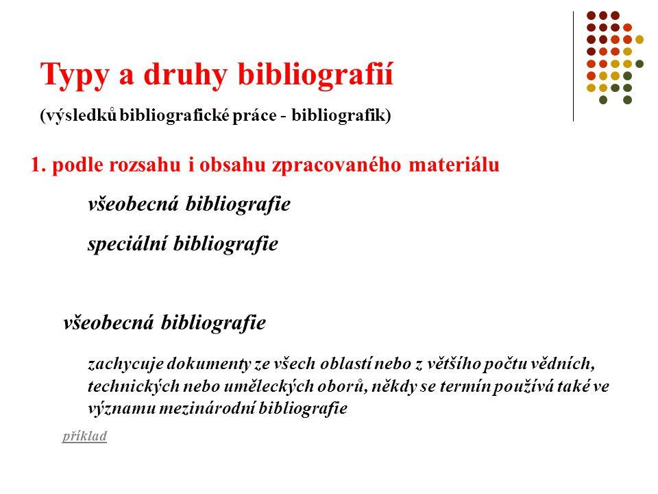 Typy a druhy bibliografií (výsledků bibliografické práce - bibliografik) speciální bibliografie zachycuje dokumenty z určitého vědního oboru nebo tematické oblasti příklad sem patří i personální bibliografie druhy: - vyčerpávající monografická bibliografická práce – úplné zachycení produkce autora a jejího ohlasu ve společnosti - úplná bibliografie vlastního literárního díla dané osobnosti - výběrová bibliografie nejvýznamnějších autorových děl, popř.