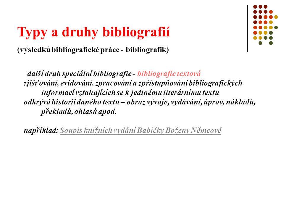Typy a druhy bibliografií (výsledků bibliografické práce - bibliografik) další druh speciální bibliografie - bibliografie textová zjišťování, evidován