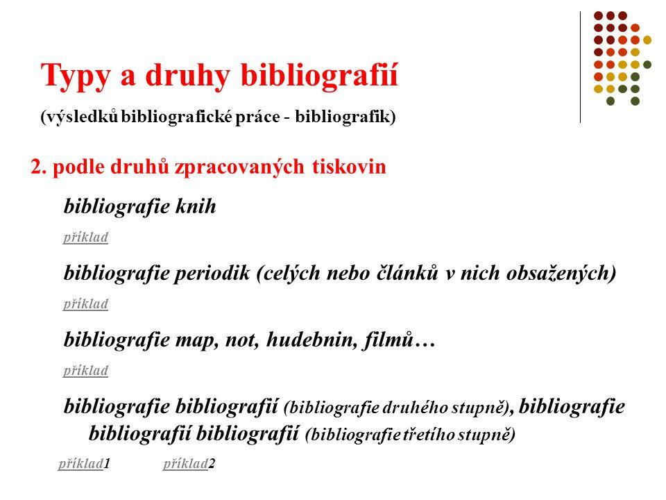 Typy a druhy bibliografií (výsledků bibliografické práce - bibliografik) 2. podle druhů zpracovaných tiskovin bibliografie knih příklad bibliografie p