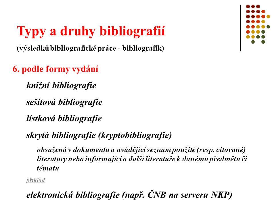 Typy a druhy bibliografií (výsledků bibliografické práce - bibliografik) 6. podle formy vydání knižní bibliografie sešitová bibliografie lístková bibl