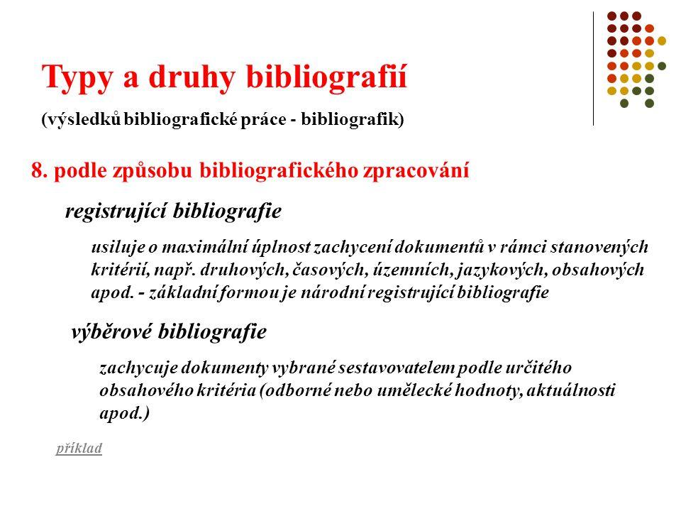 Typy a druhy bibliografií (výsledků bibliografické práce - bibliografik) doporučující bibliografie doporučuje určité kategorii uživatelů vybrané dokumenty např.
