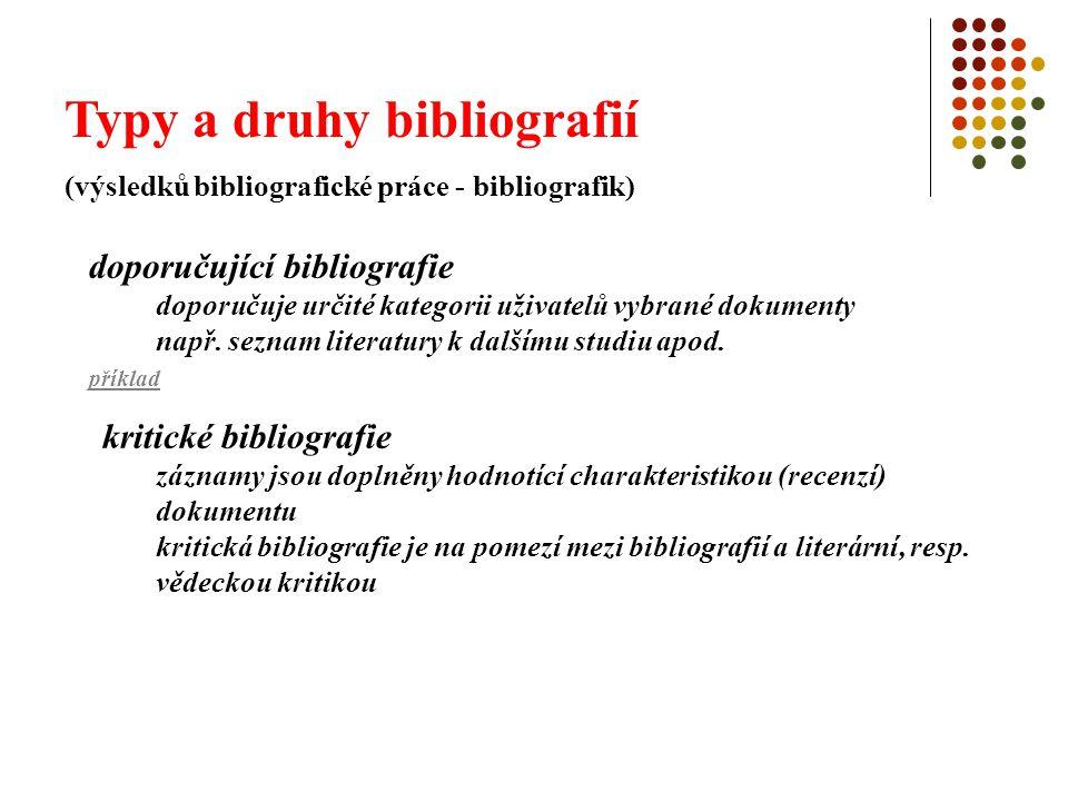 Typy a druhy bibliografií (výsledků bibliografické práce - bibliografik) doporučující bibliografie doporučuje určité kategorii uživatelů vybrané dokum