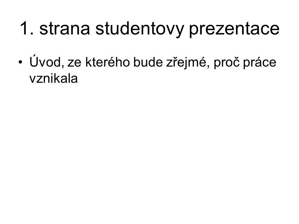 1. strana studentovy prezentace Úvod, ze kterého bude zřejmé, proč práce vznikala