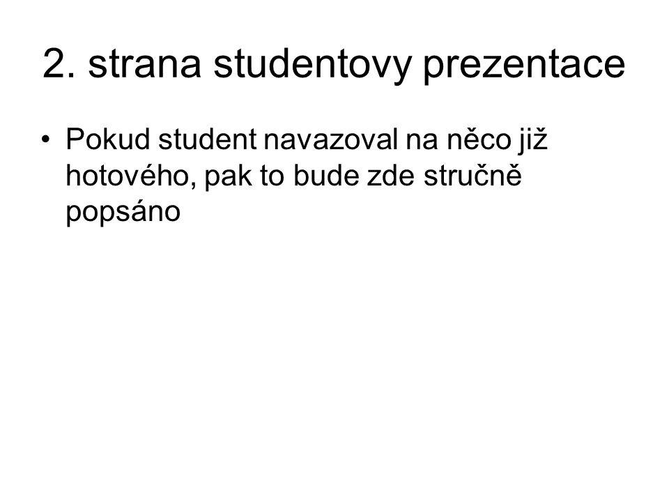 2. strana studentovy prezentace Pokud student navazoval na něco již hotového, pak to bude zde stručně popsáno
