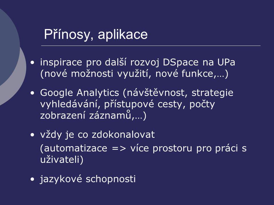 Přínosy, aplikace inspirace pro další rozvoj DSpace na UPa (nové možnosti využití, nové funkce,…) Google Analytics (návštěvnost, strategie vyhledávání