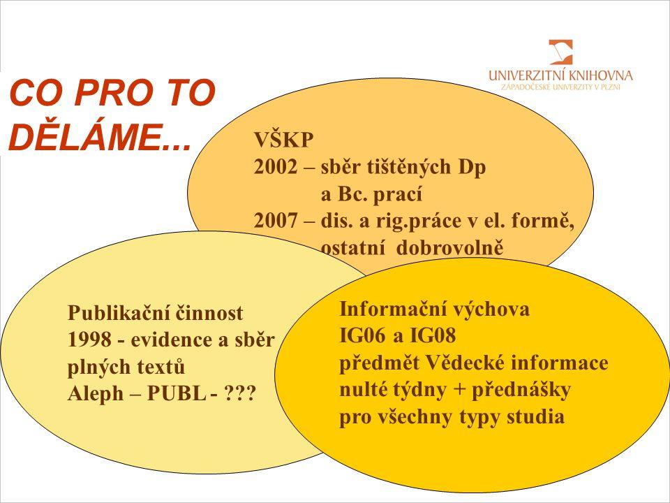 CO PRO TO DĚLÁME... VŠKP 2002 – sběr tištěných Dp a Bc.