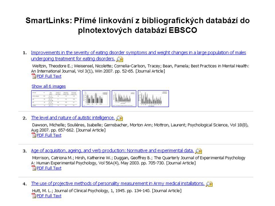 SmartLinks: Přímé linkování z bibliografických databází do plnotextových databází EBSCO