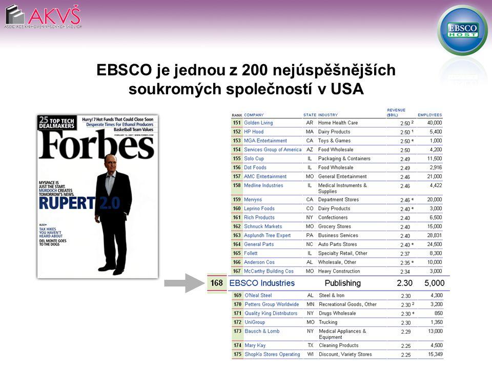 EBSCO je jednou z 200 nejúspěšnějších soukromých společností v USA