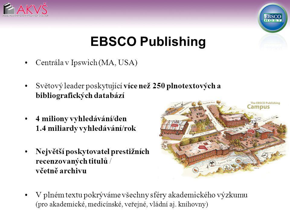 EBSCO Publishing Centrála v Ipswich (MA, USA) Světový leader poskytující více než 250 plnotextových a bibliografických databází 4 miliony vyhledávání/den 1.4 miliardy vyhledávání/rok Největší poskytovatel prestižních recenzovaných titulů / včetně archivu V plném textu pokrýváme všechny sféry akademického výzkumu (pro akademické, medicínské, veřejné, vládní aj.