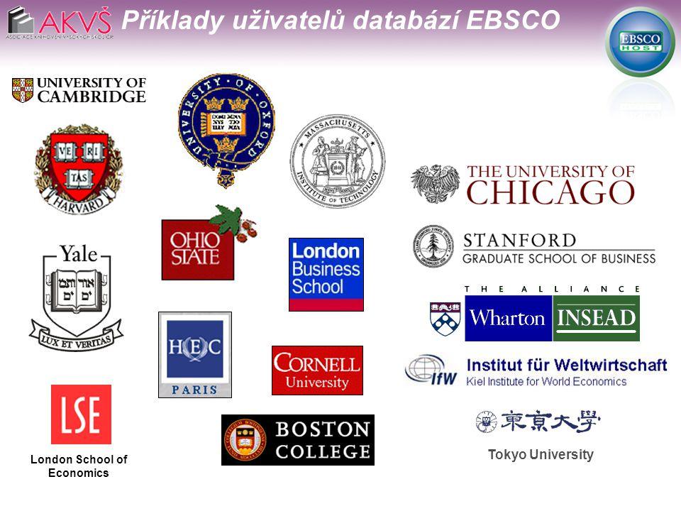 Tokyo University London School of Economics Příklady uživatelů databází EBSCO