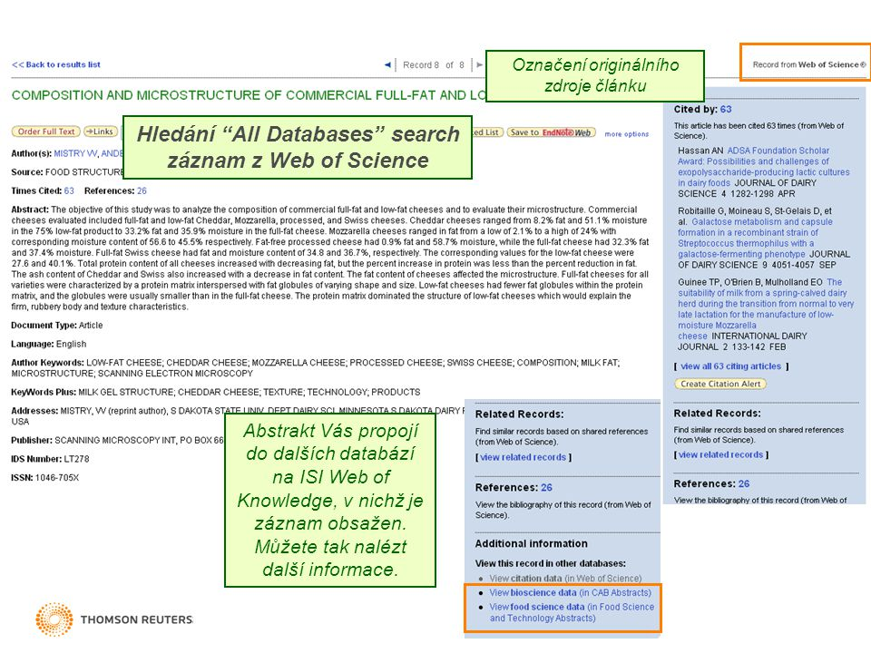 Hledání All Databases search záznam z Web of Science Abstrakt Vás propojí do dalších databází na ISI Web of Knowledge, v nichž je záznam obsažen.