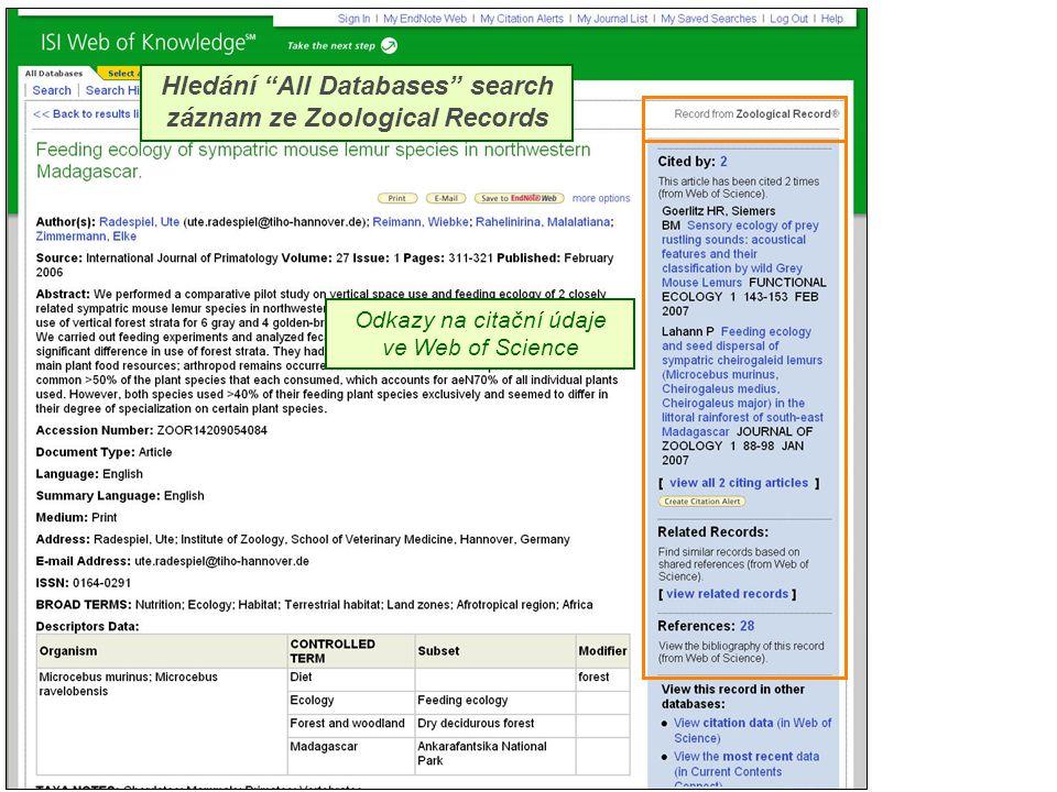 """Hledání """"All Databases"""" search záznam ze Zoological Records Odkazy na citační údaje ve Web of Science"""