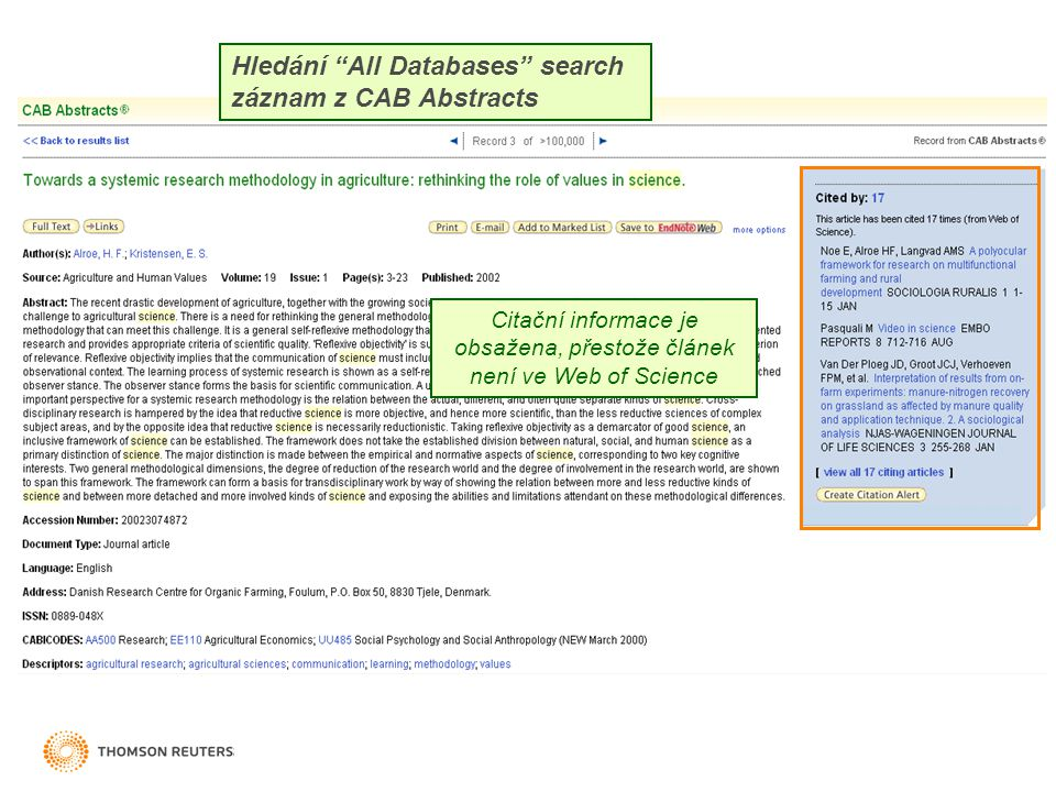 """Citační informace je obsažena, přestože článek není ve Web of Science Hledání """"All Databases"""" search záznam z CAB Abstracts"""