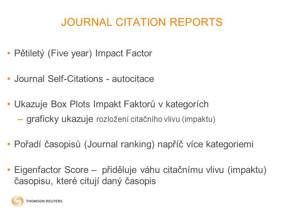 JOURNAL CITATION REPORTS Pětiletý (Five year) Impact Factor Journal Self-Citations - autocitace Ukazuje Box Plots Impakt Faktorů v kategorích –graficky ukazuje rozložení citačního vlivu (impaktu) Pořadí časopisů (Journal ranking) napříč více kategoriemi Eigenfactor Score – přiděluje váhu citačnímu vlivu (impaktu) časopisu, které citují daný časopis