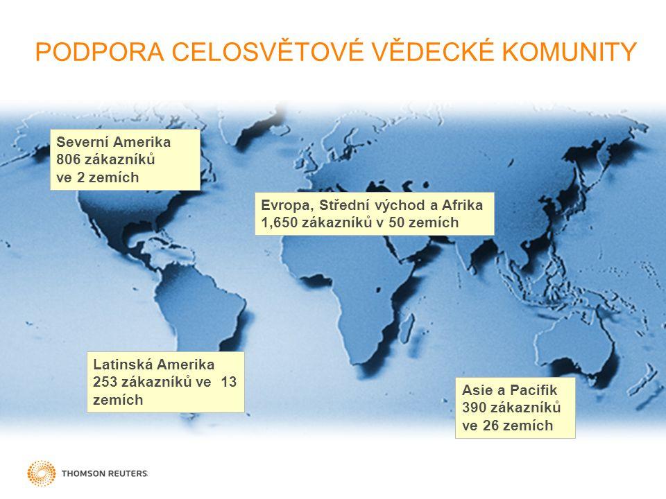 PODPORA CELOSVĚTOVÉ VĚDECKÉ KOMUNITY Evropa, Střední východ a Afrika 1,650 zákazníků v 50 zemích Severní Amerika 806 zákazníků ve 2 zemích Latinská Am
