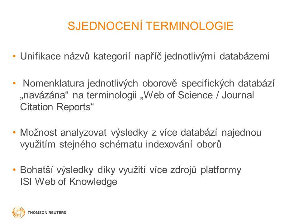 """SJEDNOCENÍ TERMINOLOGIE Unifikace názvů kategorií napříč jednotlivými databázemi Nomenklatura jednotlivých oborově specifických databází """"navázána na terminologii """"Web of Science / Journal Citation Reports Možnost analyzovat výsledky z více databází najednou využitím stejného schématu indexování oborů Bohatší výsledky díky využití více zdrojů platformy ISI Web of Knowledge"""