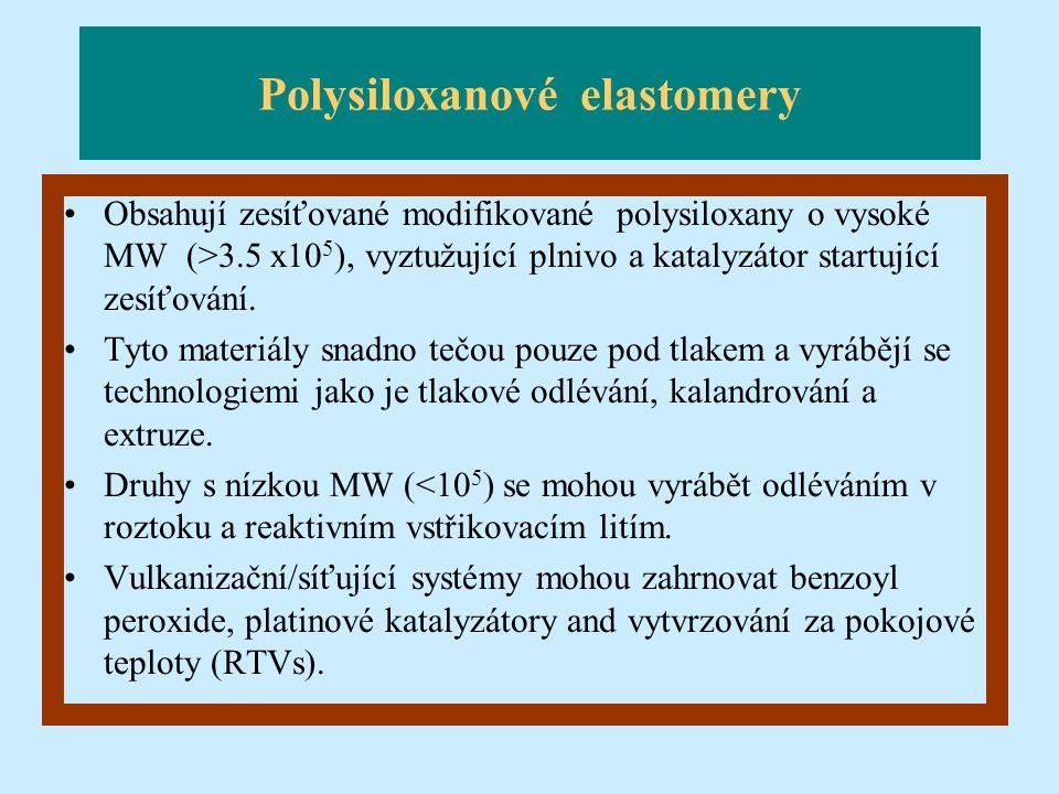 Polysiloxanové elastomery Obsahují zesíťované modifikované polysiloxany o vysoké MW (>3.5 x10 5 ), vyztužující plnivo a katalyzátor startující zesíťov