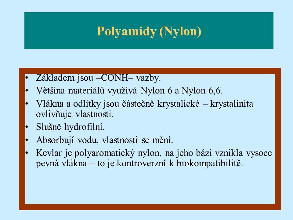 Polyamidy (Nylon) Základem jsou –CONH– vazby. Většina materiálů využívá Nylon 6 a Nylon 6,6. Vlákna a odlitky jsou částečně krystalické – krystalinita