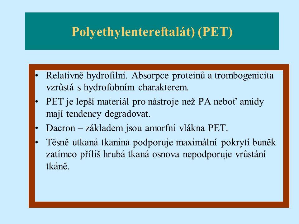 Polyethylentereftalát) (PET) Relativně hydrofilní. Absorpce proteinů a trombogenicita vzrůstá s hydrofobním charakterem. PET je lepší materiál pro nás