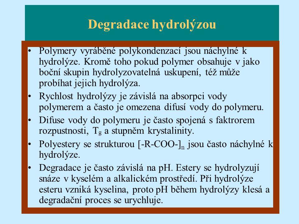 Degradace hydrolýzou Polymery vyráběné polykondenzací jsou náchylné k hydrolýze. Kromě toho pokud polymer obsahuje v jako boční skupin hydrolyzovateln