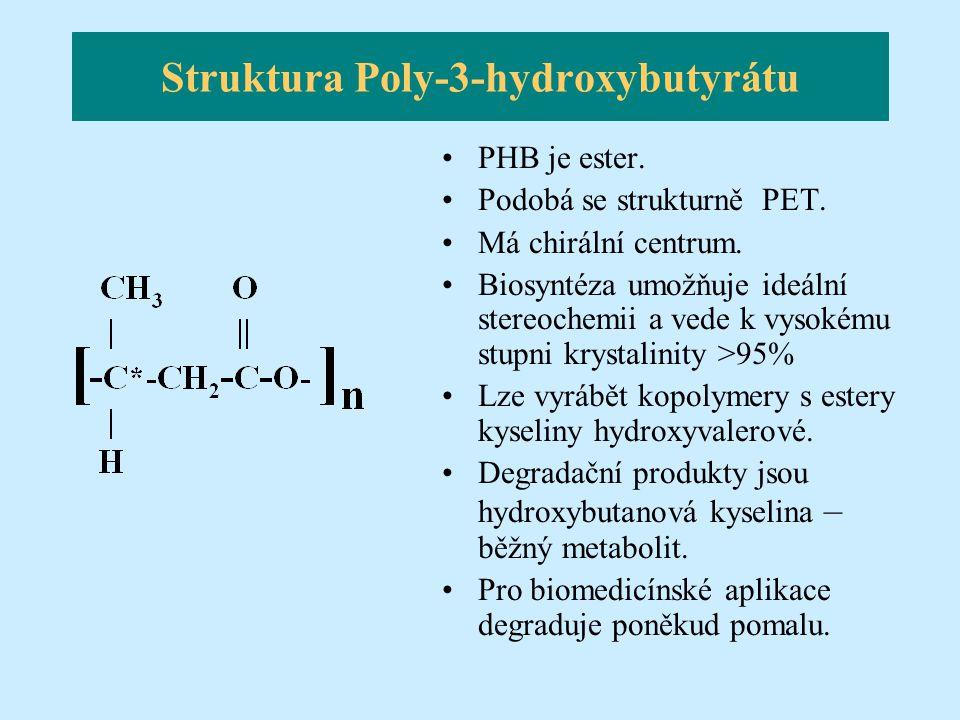 Struktura Poly-3-hydroxybutyrátu PHB je ester. Podobá se strukturně PET. Má chirální centrum. Biosyntéza umožňuje ideální stereochemii a vede k vysoké