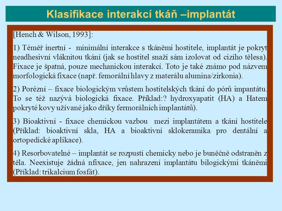 [Hench & Wilson, 1993]: 1) Téměř inertní - minimální interakce s tkáněmi hostitele, implantát je pokryt neadhesivní vláknitou tkání (jak se hostitel s