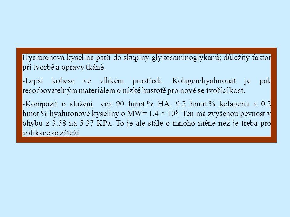 Hyaluronová kyselina patří do skupiny glykosaminoglykanů; důležitý faktor při tvorbě a opravy tkáně. -Lepší kohese ve vlhkém prostředí. Kolagen/hyalur