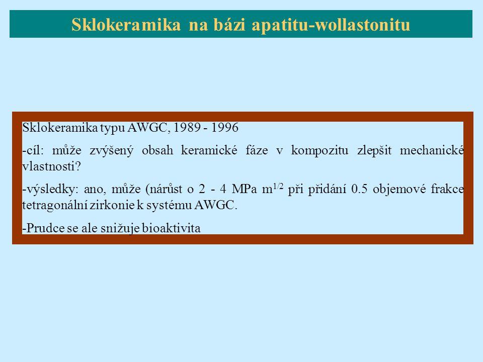 Sklokeramika typu AWGC, 1989 - 1996 -cíl: může zvýšený obsah keramické fáze v kompozitu zlepšit mechanické vlastnosti? -výsledky: ano, může (nárůst o
