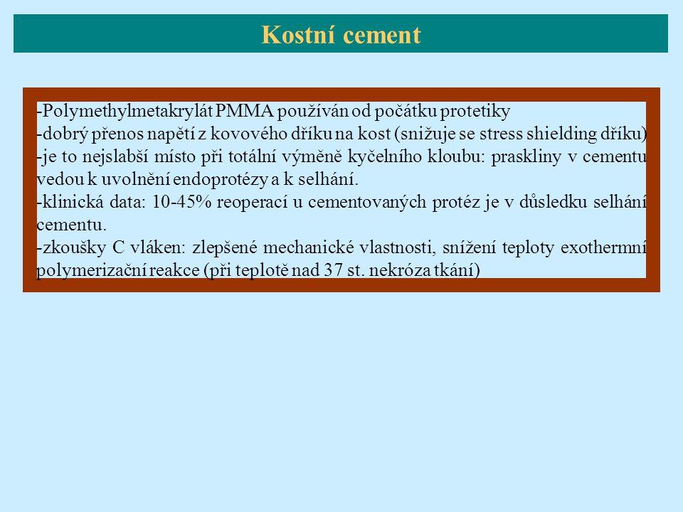 Kostní cement -Polymethylmetakrylát PMMA používán od počátku protetiky -dobrý přenos napětí z kovového dříku na kost (snižuje se stress shielding dřík