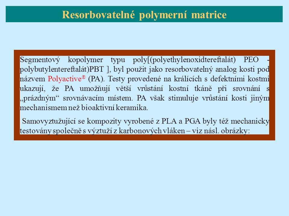Segmentový kopolymer typu poly[(polyethylenoxidtereftalát) PEO - polybutylentereftalát)PBT ], byl použit jako resorbovatelný analog kosti pod názvem P