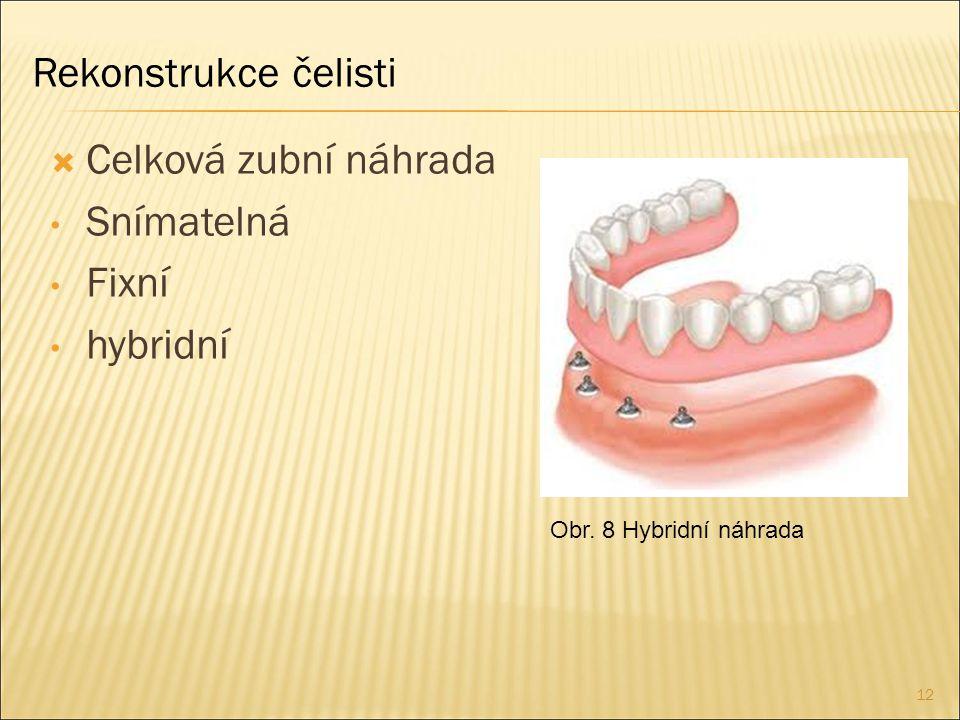 12  Celková zubní náhrada Snímatelná Fixní hybridní Obr. 8 Hybridní náhrada