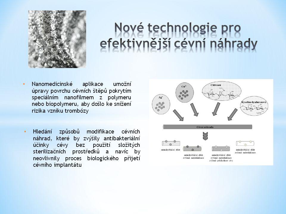 Nanomedicinské aplikace umožní úpravy povrchu cévních štěpů pokrytím speciálním nanofilmem z polymeru nebo biopolymeru, aby došlo ke snížení rizika vz