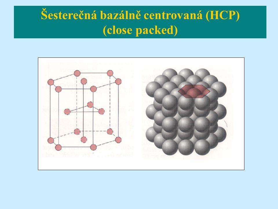 Šesterečná bazálně centrovaná (HCP) (close packed)