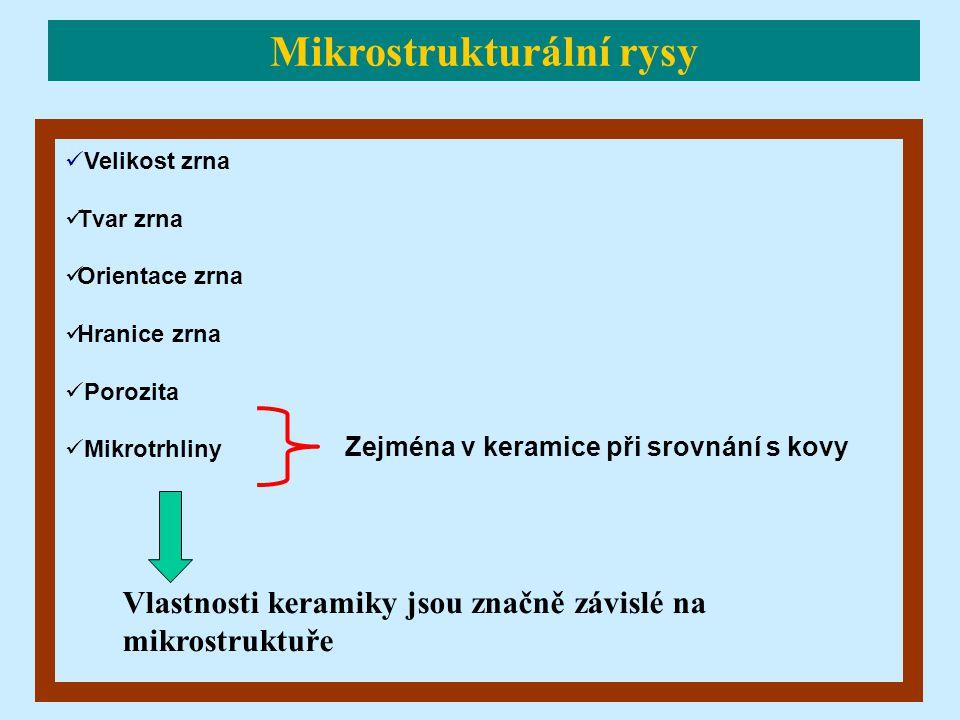 Velikost zrna Tvar zrna Orientace zrna Hranice zrna Porozita Mikrotrhliny Vlastnosti keramiky jsou značně závislé na mikrostruktuře Zejména v keramice při srovnání s kovy Mikrostrukturální rysy