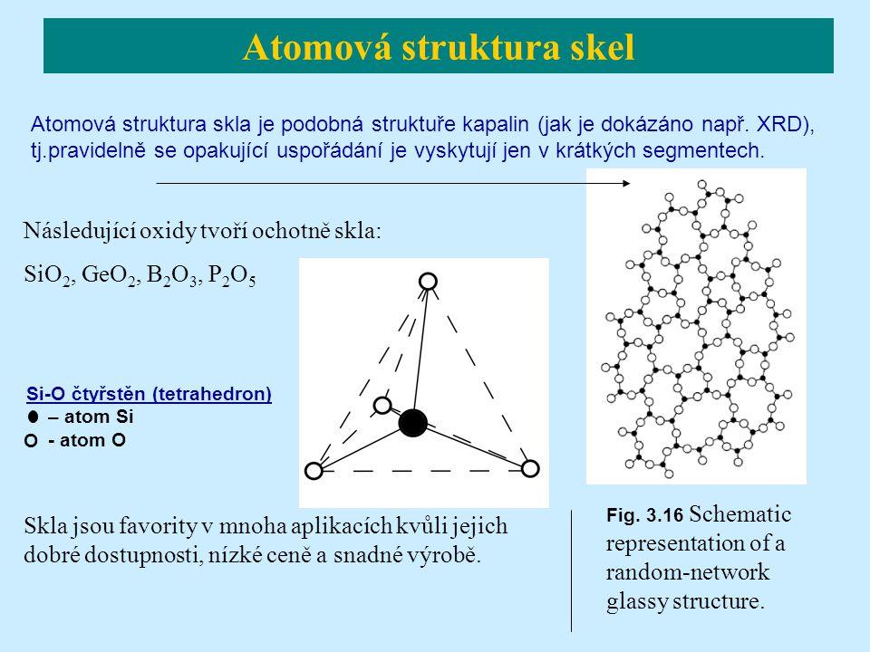 Následující oxidy tvoří ochotně skla: SiO 2, GeO 2, B 2 O 3, P 2 O 5 O Skla jsou favority v mnoha aplikacích kvůli jejich dobré dostupnosti, nízké cen