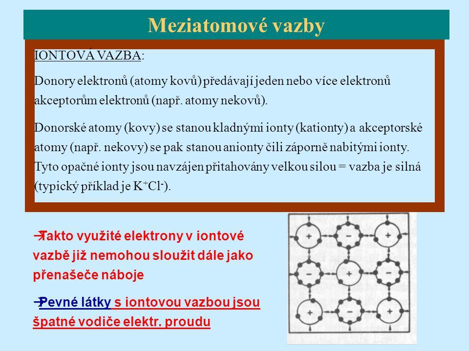 IONTOVÁ VAZBA: Donory elektronů (atomy kovů) předávají jeden nebo více elektronů akceptorům elektronů (např. atomy nekovů). Donorské atomy (kovy) se s