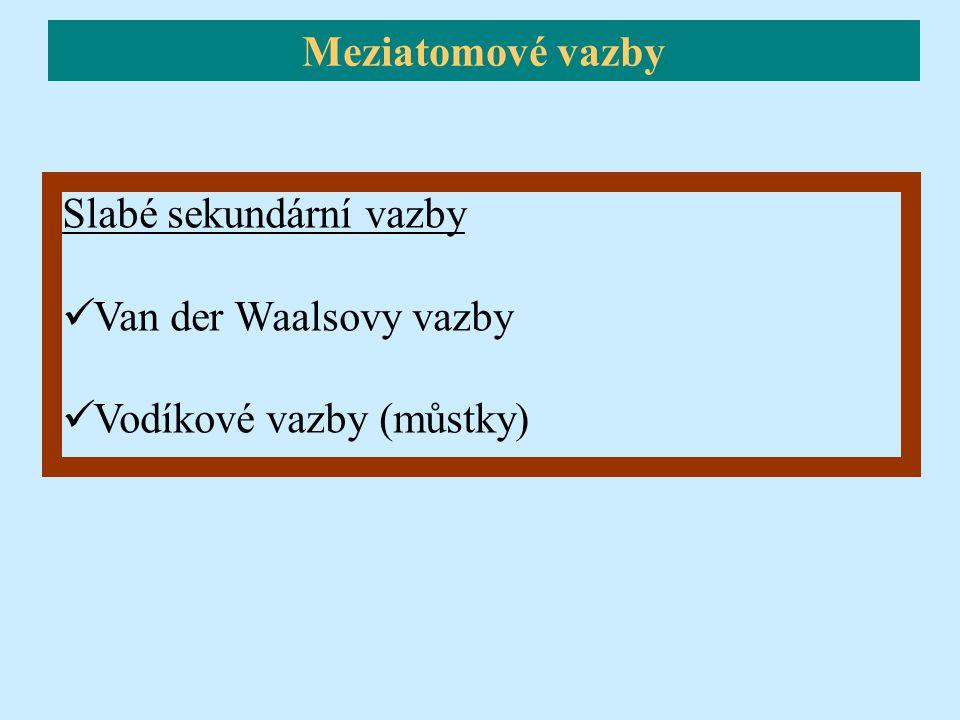 Slabé sekundární vazby Van der Waalsovy vazby Vodíkové vazby (můstky) Meziatomové vazby